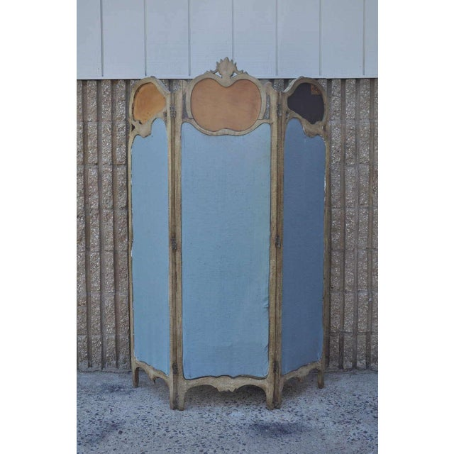 Fabric 19th Century French Louis XV Style Hand Painted & Carved Petite Dressing Screen For Sale - Image 7 of 10