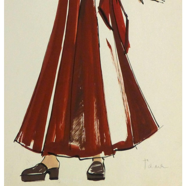 Figurative French Fashion Sketch - Red Wrap Dress For Sale - Image 3 of 5