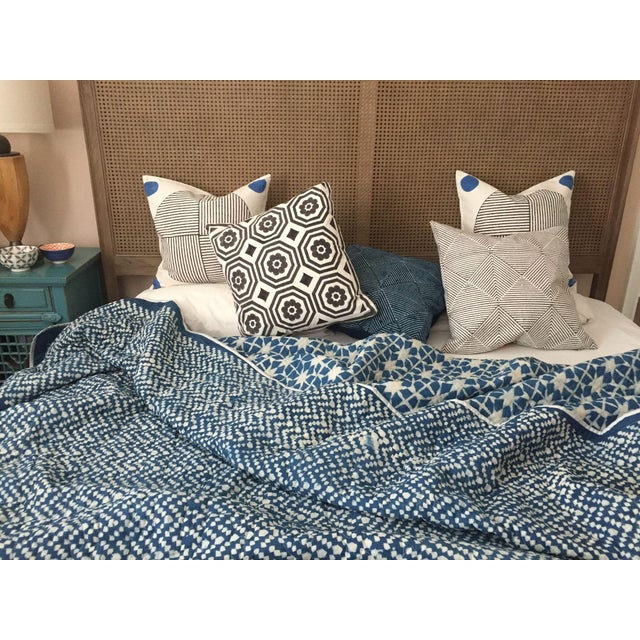 Contemporary Contemporary King Nila Tara Navy Cotton Quilt For Sale - Image 3 of 4