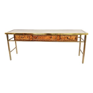 Mastercraft Burl Wood & Brass Console Table