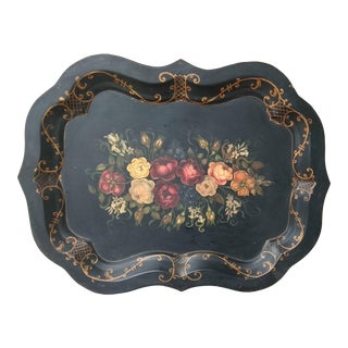 19th Century Hand Painted Tole Tray With Flowers For Sale