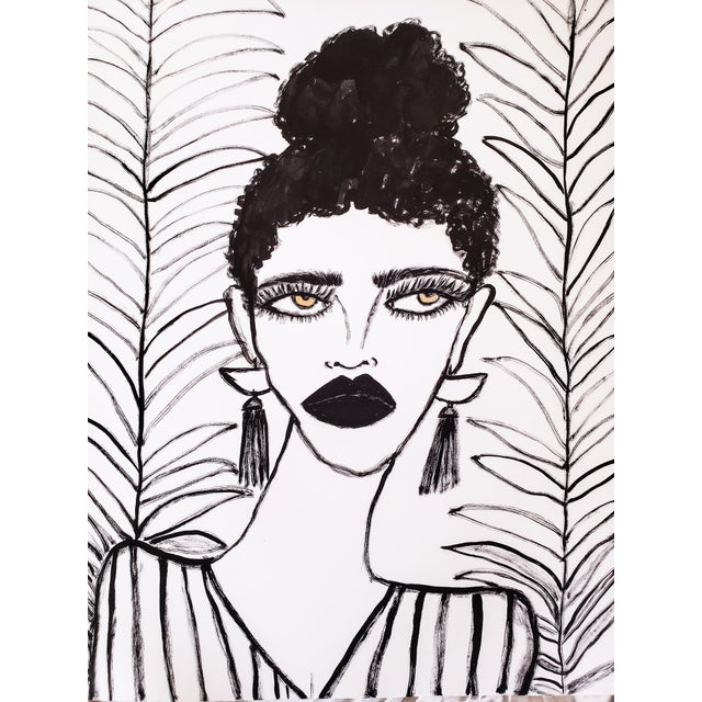 """Original drawing, 22""""x30"""" black ink with a hint of gold in the eye color on high-quality arches watercolor paper. One of a..."""