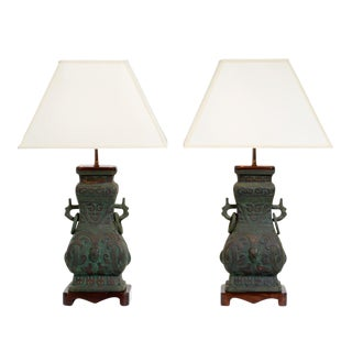 Chinoiserie Cast Bronze Table Lamps - a Pair For Sale