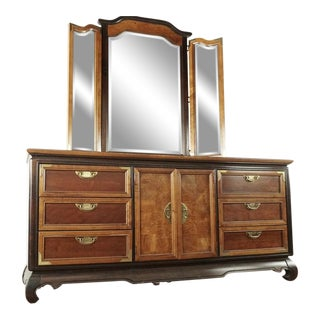 Broyhill Premier Asian Regency Stlye Wooden Dresser With Mirror For Sale