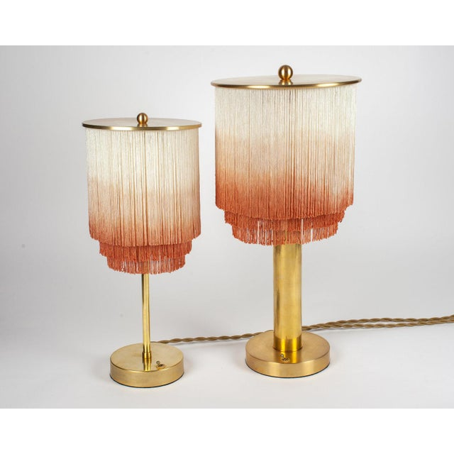 Modern Large Fringe Table Lamp in Cream/Dusty Rose For Sale - Image 4 of 5