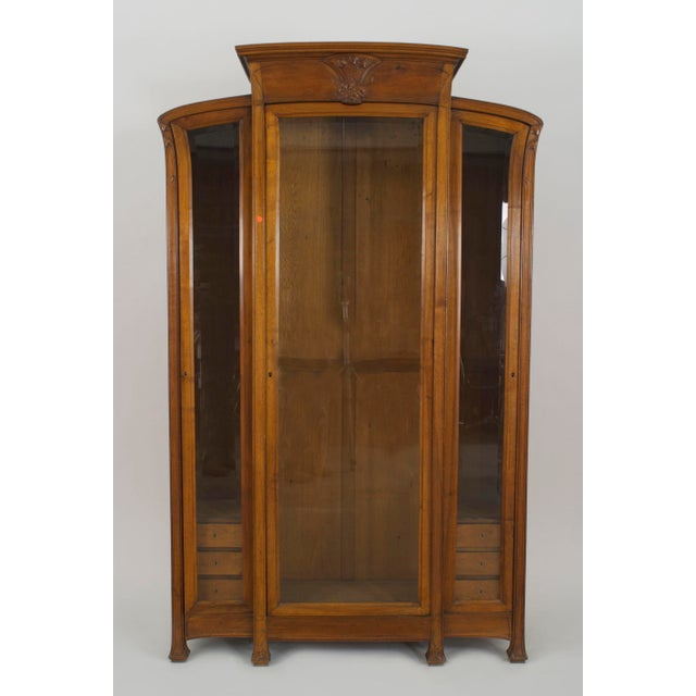 Late 19th Century French Art Nouveau Walnut Display Cabinet For Sale - Image 5 of 5