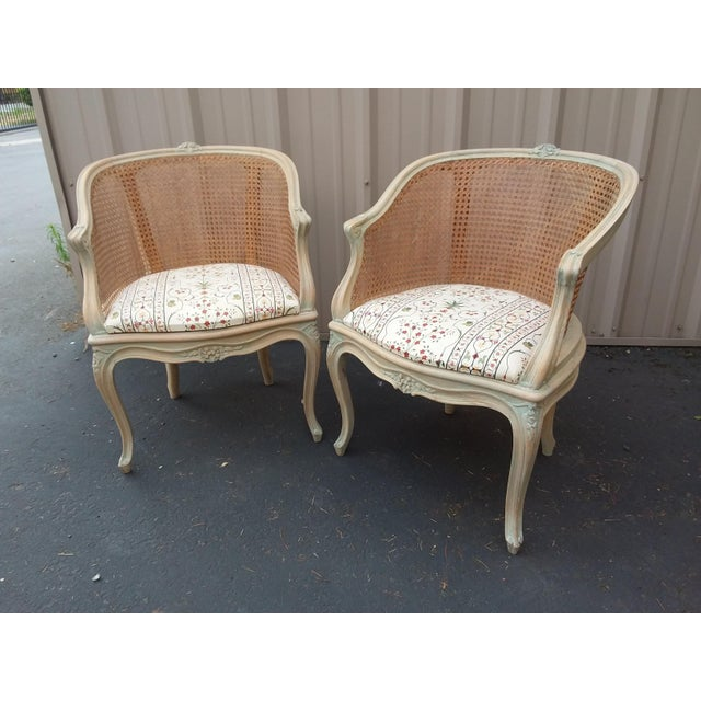 Italian Pair of Italian Barrel Shaped Cane Back Chairs For Sale - Image 3 of 11