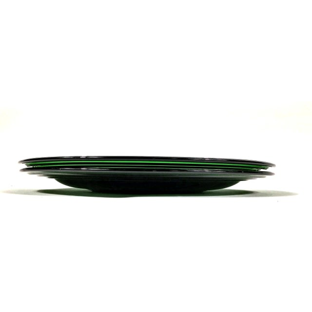 Art Deco 1950s Deep Green Glass Dinner Plate - a Pair For Sale - Image 3 of 7