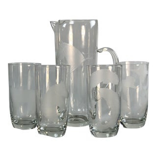 1950s Etched Glass Horse Pitcher & Tumblers, Set of 5 For Sale