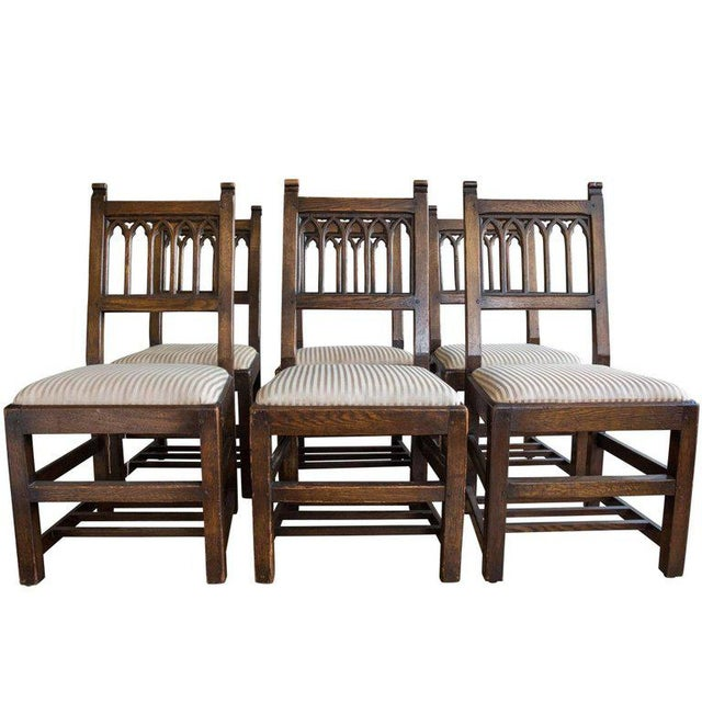 Set of Six Oak Gothic Revival Pew Chairs from Riverside Church - Image 11 of 11