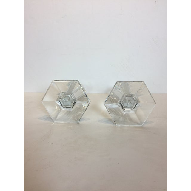 Contemporary Vintage Baccarat Clear Crystal Modern Hexagonal Base Candlesticks - a Pair For Sale - Image 3 of 8