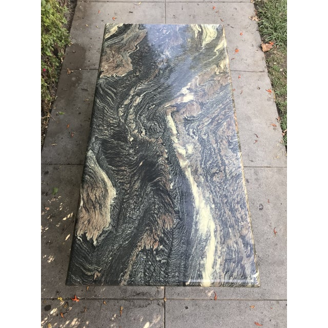 1970s Organic Modern Solid Black & Cream Marble Coffee Table For Sale In Los Angeles - Image 6 of 10