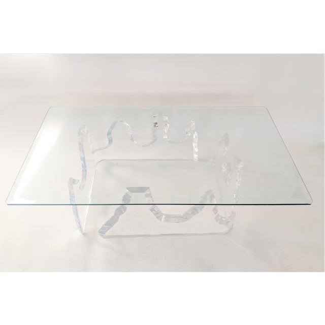 Lion in Frost Style Lucite Iceberg Coffee 2-Piece Table Base For Sale - Image 13 of 13