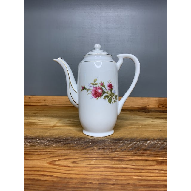 Pink Roses Tea and Teapot Set For Sale - Image 10 of 12
