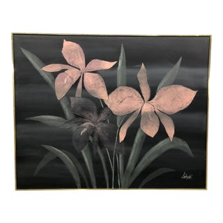 Vintage Mid-Century Lee Reynolds Blush Pink & Black Oil on Canvas Painting For Sale