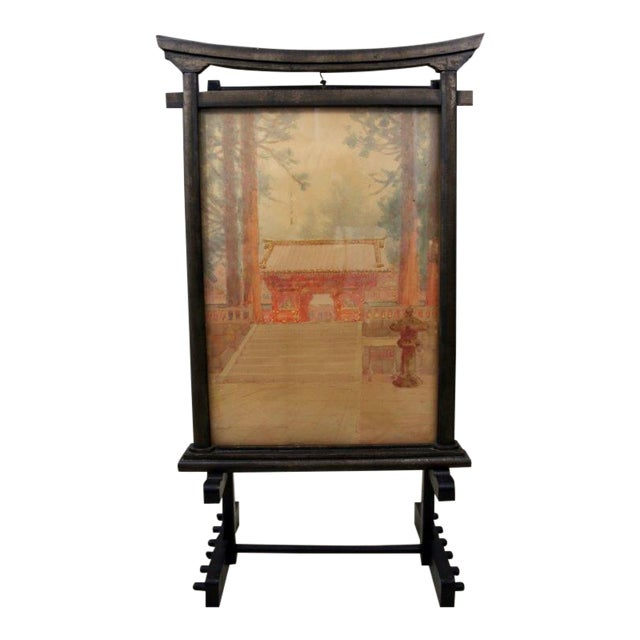 Antique M. Kano Watercolor Painting on Pagoda Stand - Image 1 of 9