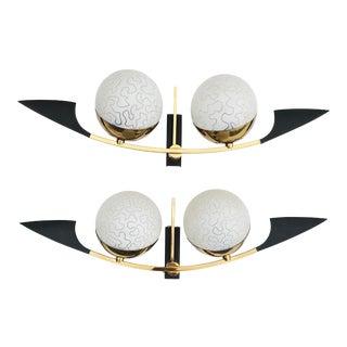 Maison Arlus Paris Black and Brass Sconces - 2 Pairs Available For Sale
