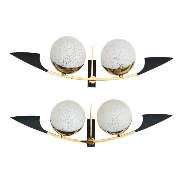 Maison Arlus Paris Black and Brass Sconces - 2 Pairs Available For Sale