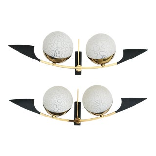Maison Arlus Paris Black and Brass Sconces - a Pair For Sale