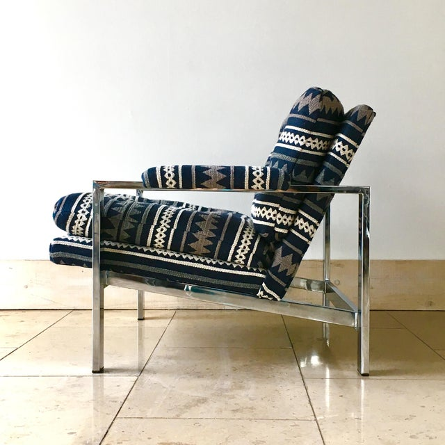 Mid-Century Modern Pair of Chrome Framed Armchairs by Cy Mann 1970s For Sale - Image 3 of 9