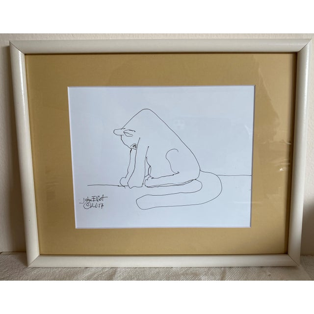 """Paper Vintage Drawing """"My Cat Stretching in the Morning"""" With Coa by Listed Artist John Elliot, Opa For Sale - Image 7 of 12"""