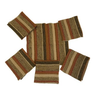 1960s Modern Woven Napkins in Earth Tones - Set of 6 For Sale
