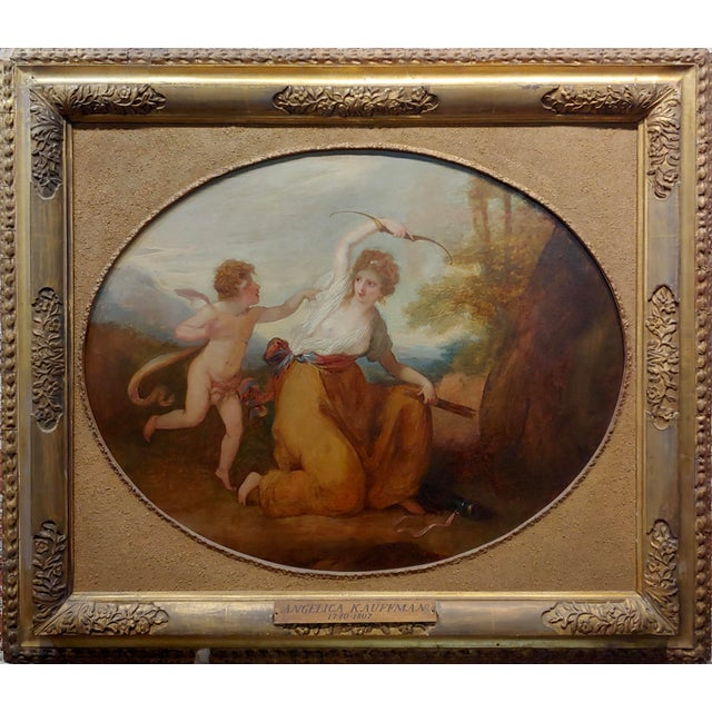 Cupid & a Goddess - 18th century Neoclassical oil painting oil painting on canvas - unsigned circa 1780s frame size 40 x...