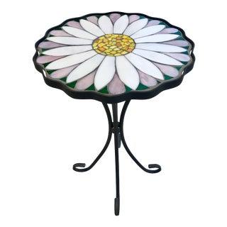 Addison Mizner Style Ornate Glass Tile & Iron Table For Sale