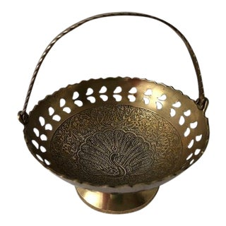 Vintage Indian Carved Small Brass Peacock Basket For Sale