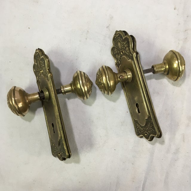 This is a reproduction pair of back plates with two doorknobs. The back plates are engraved/etched with intricate...