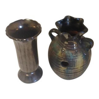 Vintage Pottery Iridescent Gunmetal Black Grey Finish – a Pair For Sale