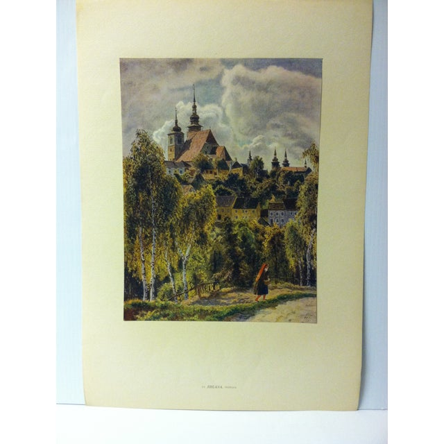 """This is a mounted reproduction of a vintage Czechoslovakian color print on paper that is titled """"Jihlava - Morava"""". The..."""
