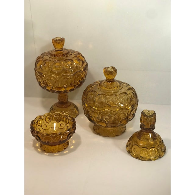Vintage Le Smith Amber Moon and Stars Glass Serveware Set of 4 For Sale In Sacramento - Image 6 of 8
