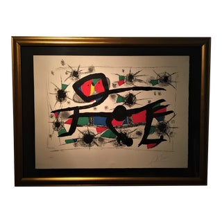 Peinture - Poesie Stone Lithograph by Miro, Framed For Sale