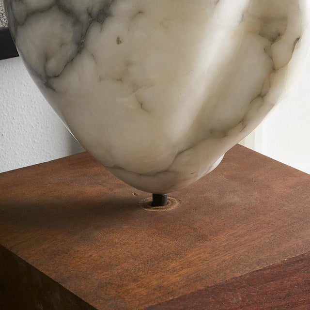 White Marble Sculpture on Wood Base For Sale - Image 9 of 11