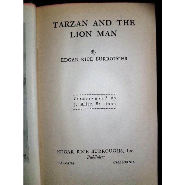 """Tarzan and the Lion Man"" 1st Edition Book by Edgar Rice Burroughs For Sale - Image 9 of 13"