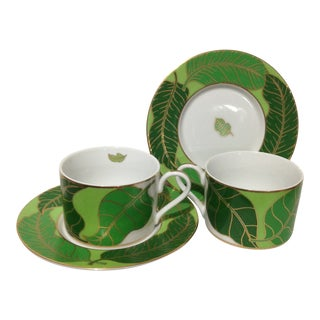 Lynn Chase Gold Leaf Cup and Saucer - Set of 2 For Sale