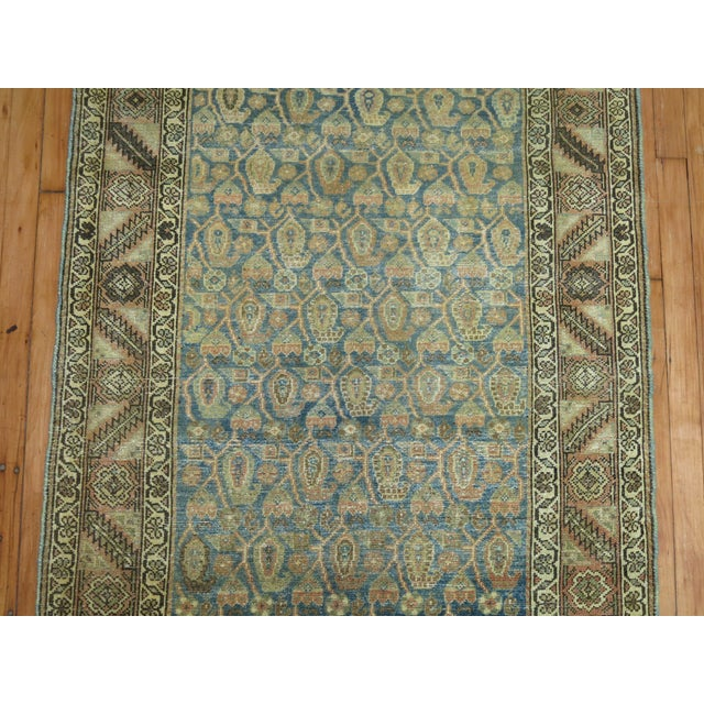 Blue Antique Persian Malayer Runner, 3'4'' X 20'2'' For Sale - Image 8 of 11