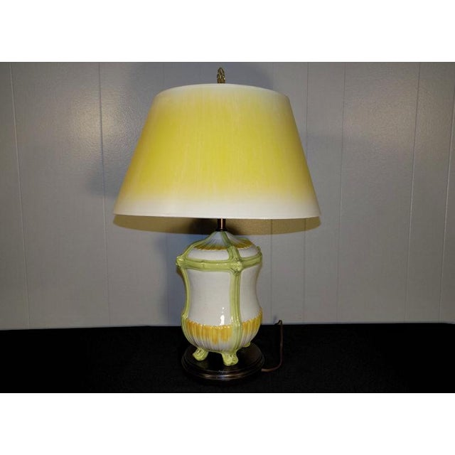 Frederick Cooper Vintage Frederick Cooper Hand Painted Pottery Table Lamp & Yellow Shade For Sale - Image 4 of 11