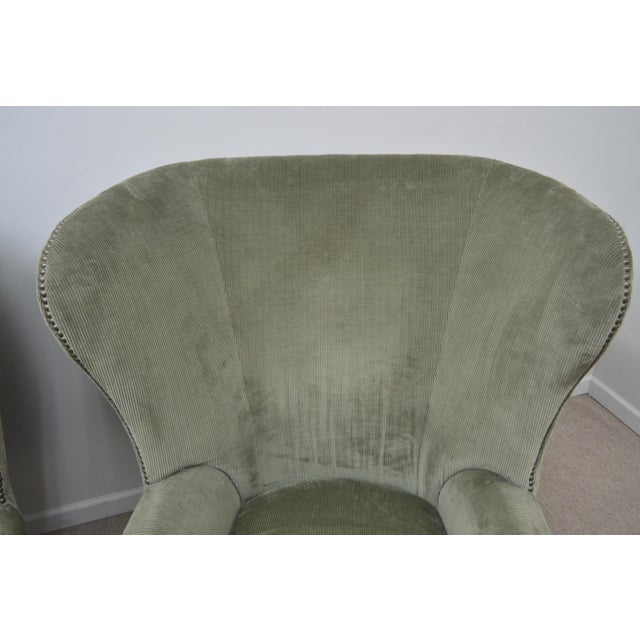 Textile Pair Ralph Lauren Upholstered Arm Chairs For Sale - Image 7 of 11