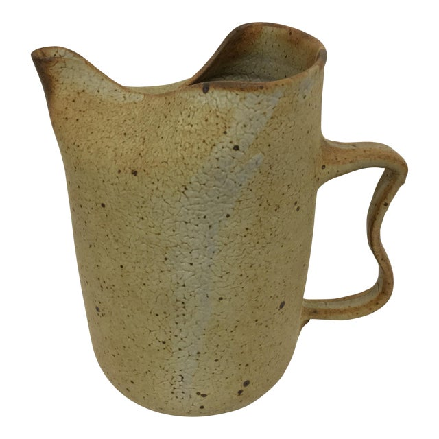 Artisan Stone Clay Free Form Pitcher For Sale