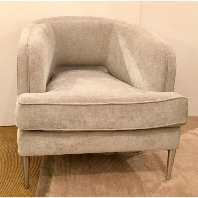 Original Retail $1650, elegant Caracole Modern Tranquil Gray Club Chair, this demure chair has a contrasting light gray...