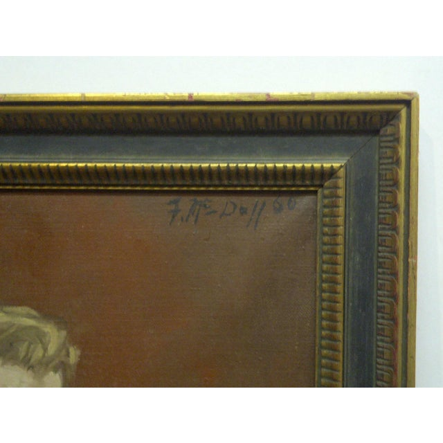 "Canvas 1960s ""The Painters Boyfriend"" Signed Framed Painting on Canvas by Frederick McDuff For Sale - Image 7 of 9"