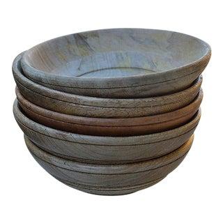 Vintage Hand-Turned Wooden Bowls - Set of 5 For Sale