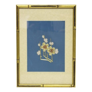 Framed Cherry Blossom Embroidered Textile