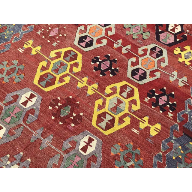 Red Rustic Turkish Kilim Rug For Sale - Image 8 of 11