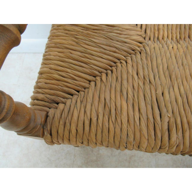 1990s Vintage Faux Bamboo French Regency U Bench Ottoman Vanity Seat Stool Rush Seat For Sale - Image 10 of 11
