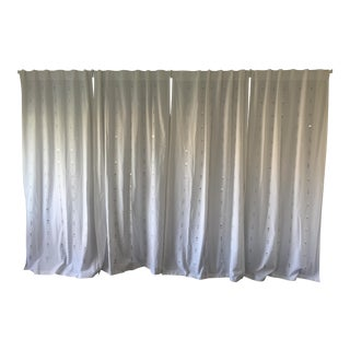 Embroidered Jewelry White Curtains - Set of 4
