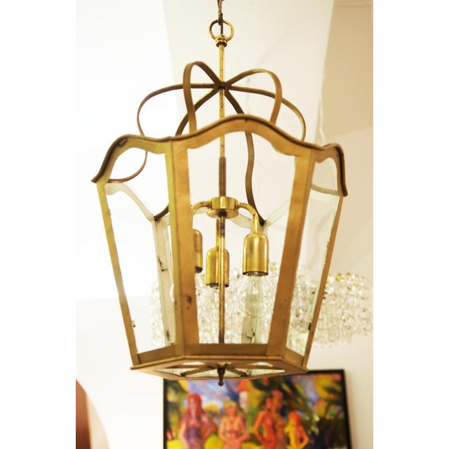 Brass Large Viennese Art Nouveau hanging lamp, 1965 For Sale - Image 7 of 11