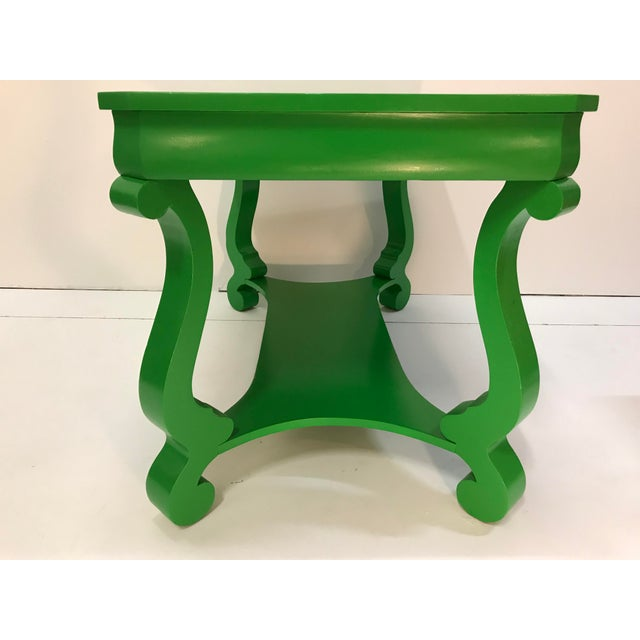 Mid 19th Century 19th Century America Empire Revival Library Writing Desk Table Painted Green Home Office For Sale - Image 5 of 7